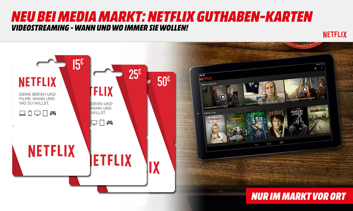 netflix guthaben karten bei media markt. Black Bedroom Furniture Sets. Home Design Ideas